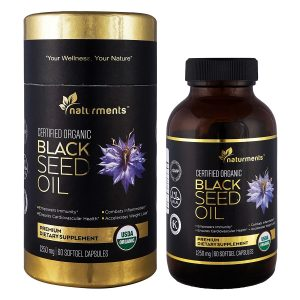 Black Cumin Seed Oil Capsules: 1250 Mg Organic, Unrefined, Cold Pressed, Extra Virgin