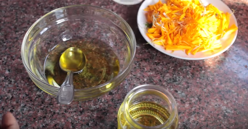 Marigold oil for removing black spot.