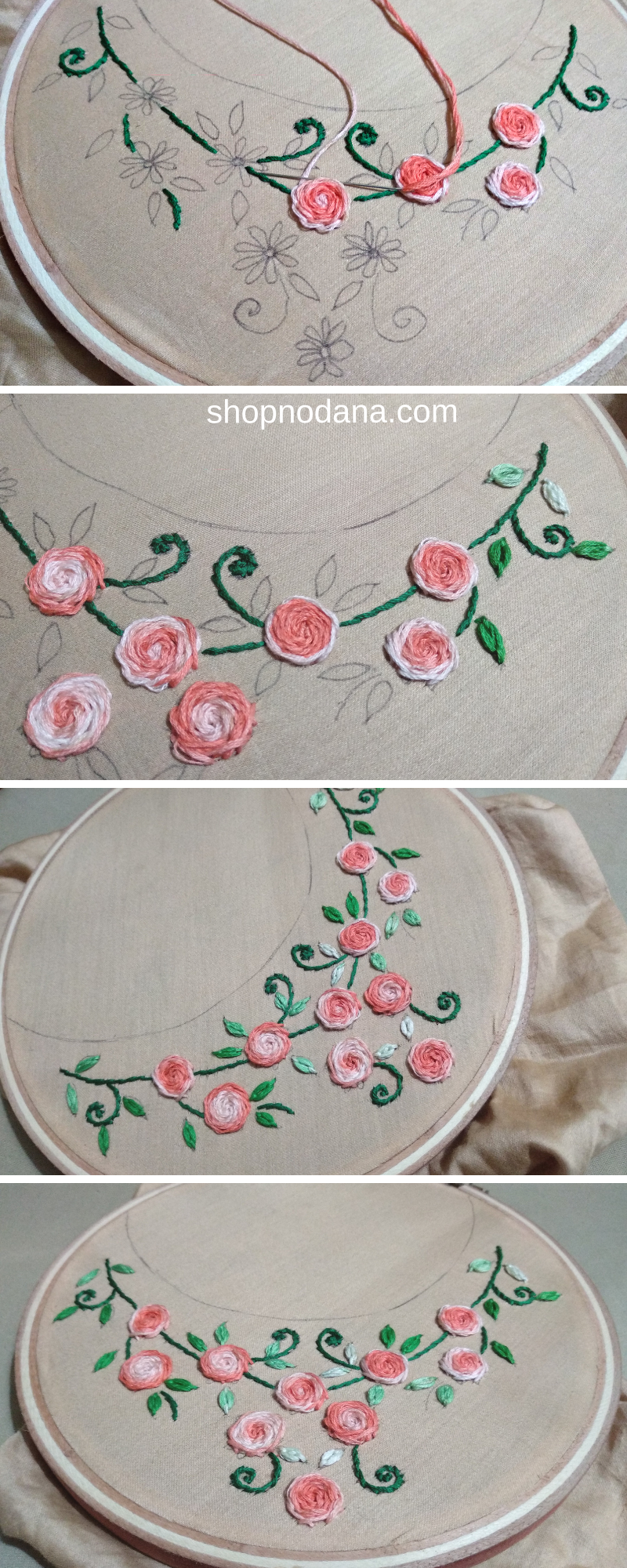 Hand embroidery design for neck-shopnodana