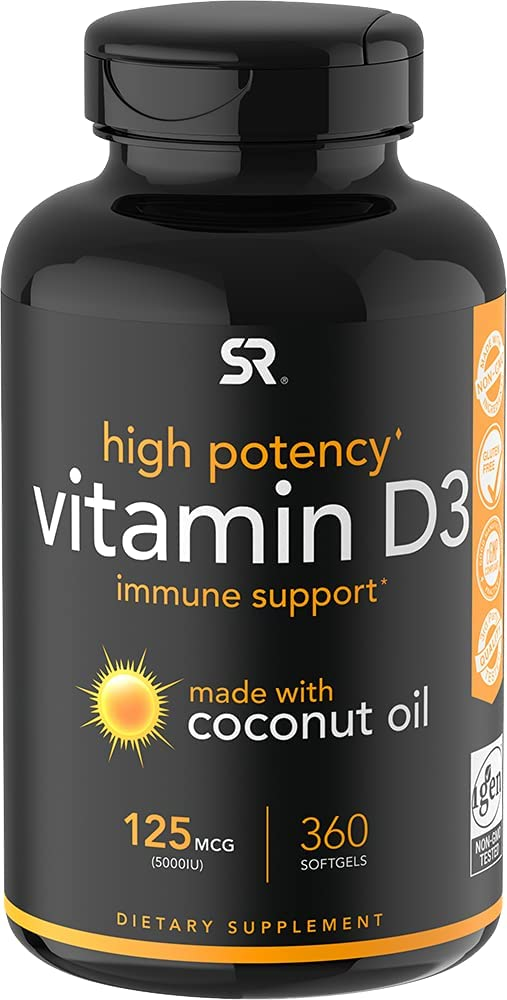 Vitamin D3 5000iu (125mcg) with Coconut Oil for nail and hair growth